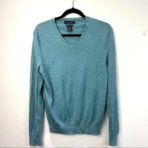 Banana Republic teal v neck cashmere/silk sweater